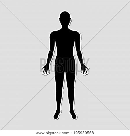 Human body paper style sticker with black color for information use medical health science business technology and multi-purpose vector illustration