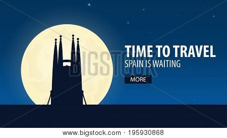 Time To Travel. Travel To Spain. Spain Is Waiting. Vector Illustration.