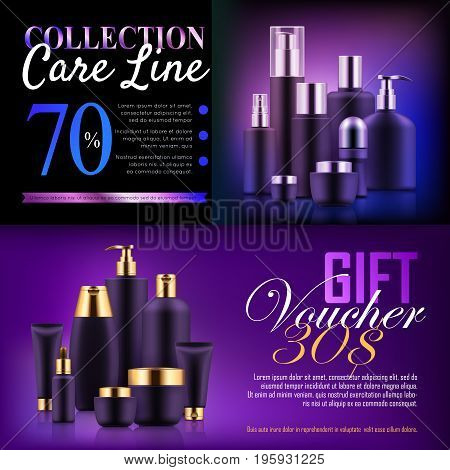 Premium beauty discount gift. Professional care concept. Offers and deals on makeup, perfume, skin care products. Realistic template vector illustration