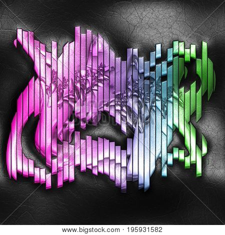 3D rendering of plastic background with embossed vertically striped object on leather