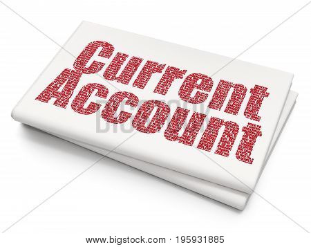 Banking concept: Pixelated red text Current Account on Blank Newspaper background, 3D rendering