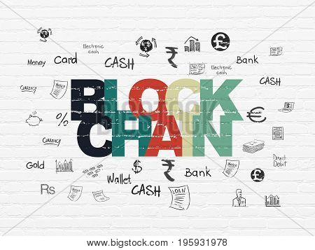 Currency concept: Painted multicolor text Blockchain on White Brick wall background with  Hand Drawn Finance Icons
