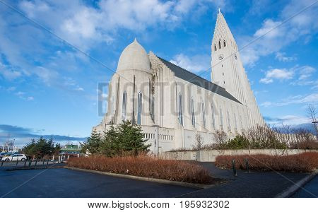 Reykjavik, Iceland - March 27 2016: Hallgrimskirkja the largest and tallest church in Reykjavik the capital cities of Iceland. Back view.
