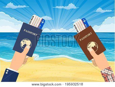 man running to summer beach. Tropical beach. Sandy beach under the bright sun. Vector illustration in flat style