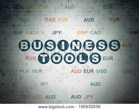 Finance concept: Painted blue text Business Tools on Digital Data Paper background with Currency