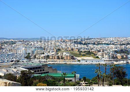 VALLETTA, MALTA - MARCH 30, 2017 - Towards Senglea and Vittoriosa seen from Valletta Valletta Malta Europe, March 30, 2017.