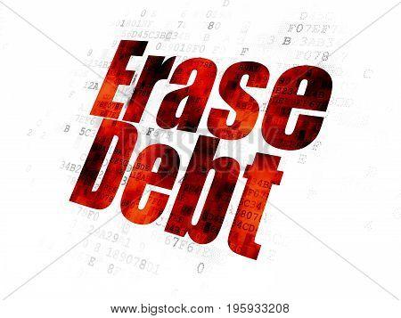 Finance concept: Pixelated red text Erase Debt on Digital background
