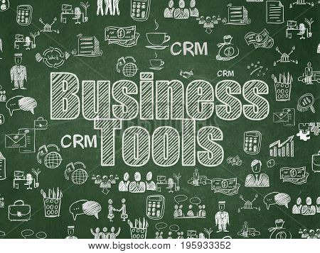 Business concept: Chalk White text Business Tools on School board background with  Hand Drawn Business Icons, School Board