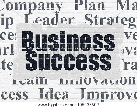 Finance concept: Painted black text Business Success on White Brick wall background with  Tag Cloud