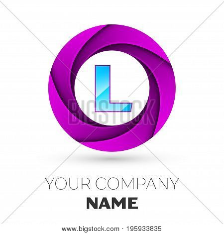 Realistic Letter L vector logo symbol in the colorful circle on white background. Vector template for your design