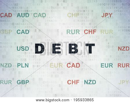 Finance concept: Painted black text Debt on Digital Data Paper background with Currency