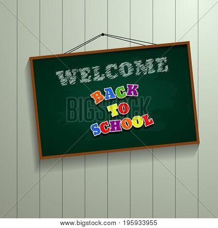 Welcome Back To School  Chalkboard Background Design Vector Eps 10