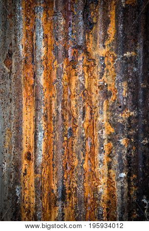 rusty on metal corrugated sheet,  wall texture
