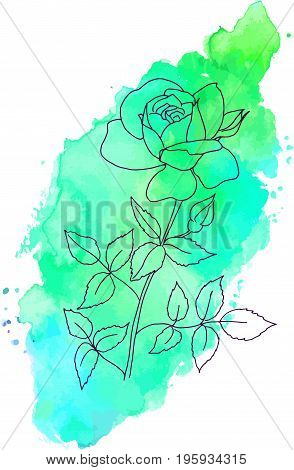 An ink drawing of a rose on a vibrant teal blue and green texture, scalable vector graphic, a design element for a greeting card or a birthday invitation, with a place for text