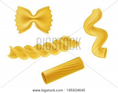Vector illustration set of realistic icons of dry macaroni of various kinds, pasta, fusilli, rigatoni, farfalle, twists isolated on white background