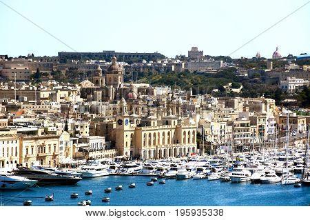 VALLETTA, MALTA - MARCH 30, 2017 - View towards Vittoriosa seen from Valletta Valletta Malta Europe, March 30, 2017.