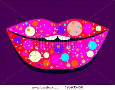 Glamorous gloss shiny lips. Evening make-up. Vector illustration