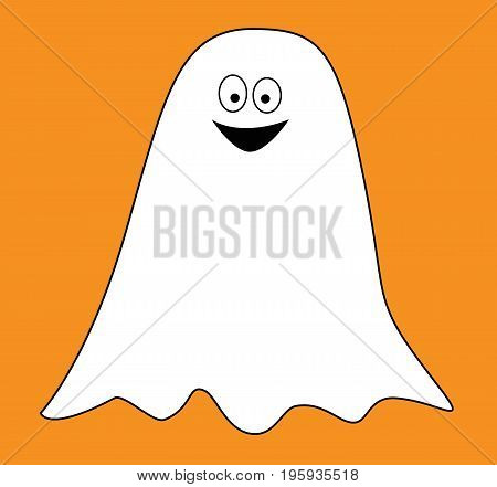 Happy Halloween Holiday Ghost on Orange Background
