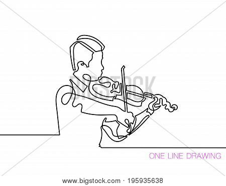 trendy continuous line black and white drawing in minimalistic style, young man playing the violin, lineart vector illustration