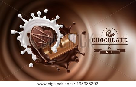 Vector 3D realistic illustration, splashes of melted chocolate and milk with falling piece of chocolate bar and candy.Design of packaging for chocolates, candies, template, advertising poster