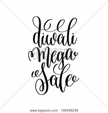 diwali mega sale black calligraphy hand lettering text isolated on white background for indian diwali fire holiday design template, greeting card vector illustration