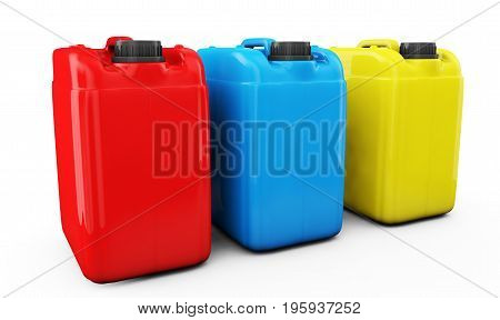 Red Blue and yellow jerrycans isolated on white background 3d render
