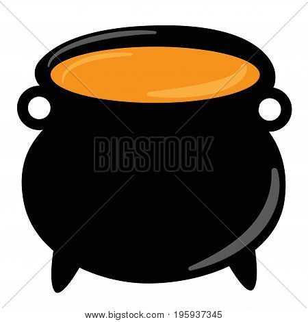 Happy Halloween Witch Cauldron with Orange Potion