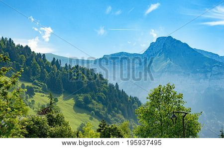 View of the mountain in Haute Savoie Alps France