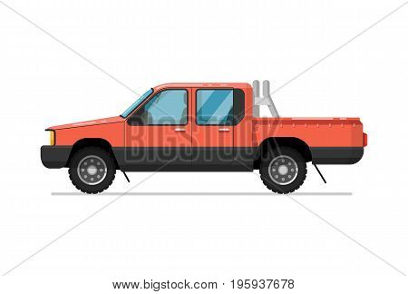 Pick up truck icon. Comfortable auto vehicle, side view people city transport isolated vector illustration on white background.