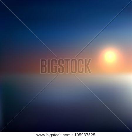 Landscape With Fog, Orange Sunrise, Sunset