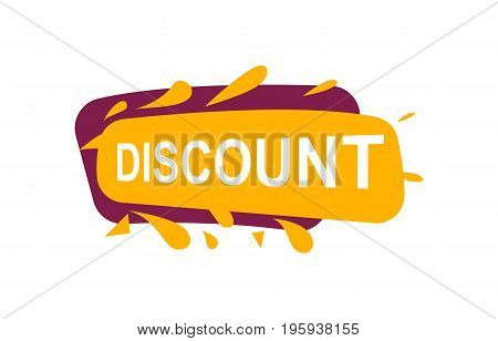 Discount speech bubble for retail promotion. Most commonly used replica label, marketing sticker isolated vector illustration.