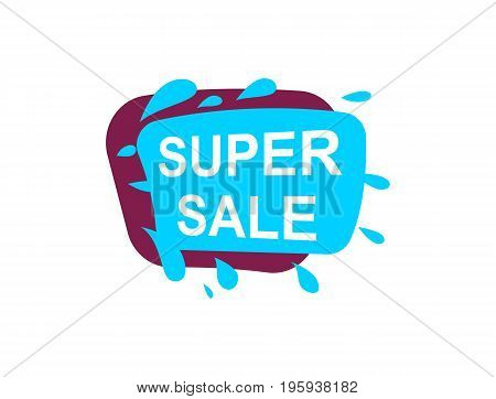 Super sale speech bubble for retail promotion. Most commonly used replica label, marketing sticker isolated vector illustration.