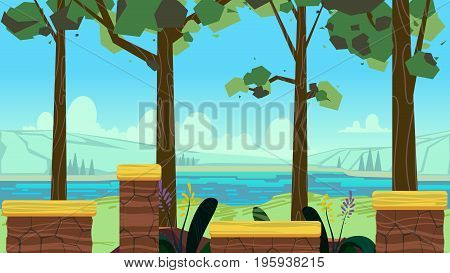 Cute cartoon seamless landscape with separated layers, summer day illustration, fits on mobile devices and may be scaled for desktop size. 1920x1080.