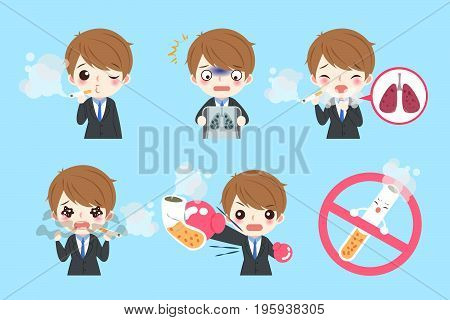 businessman with lung health concept on the blue backgorund