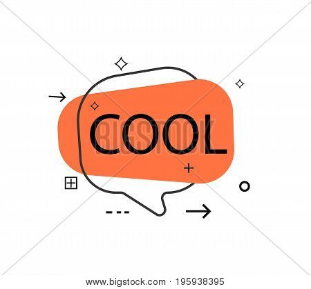 Outline speech bubble with Cool phrase. Most commonly used replica label isolated on white background vector illustration.