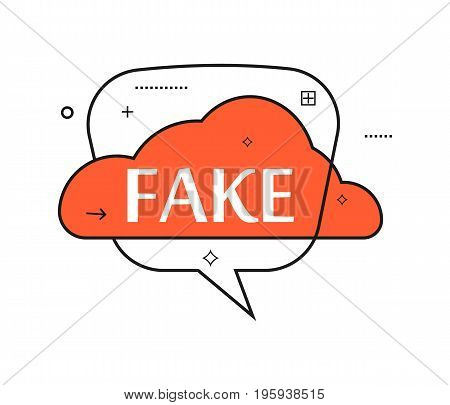 Outline speech bubble with Fake phrase. Most commonly used replica label isolated on white background vector illustration.