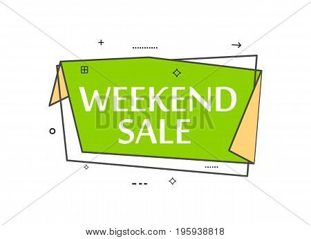Retail speech bubble with Weekend sale phrase. Most commonly used replica label, market promotion, marketing sticker isolated vector illustration.