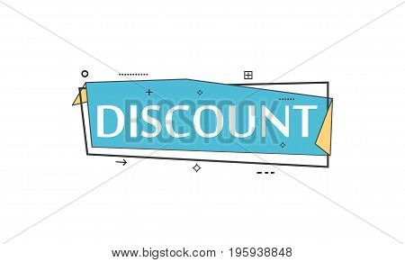 Retail speech bubble with Discount phrase. Most commonly used replica label, market promotion, marketing sticker isolated vector illustration.