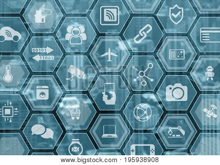 Internet of things IOT generic blue and grey background with blurred city skyline and polygon overlay