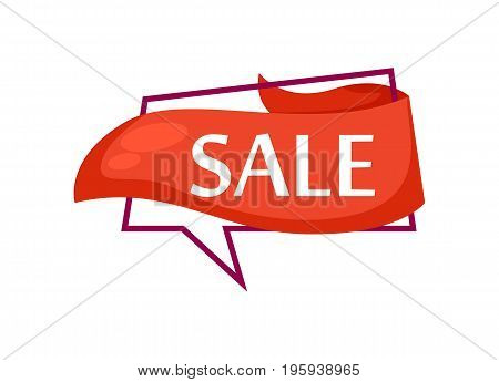 Marketing speech bubble with Sale phrase. Most commonly used replica label, market promotion, retail sticker isolated vector illustration.