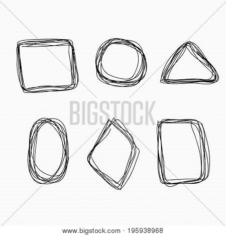 Set of common hand drawn geometric shapes felt-tip pen. Underlining note highlight important information. Rough vector frame elements.