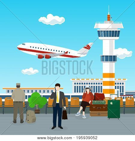 Airport , View on Airplane and Control Tower through the Window from a Waiting Room with People , Travel Concept, Flat Design, Vector Illustration