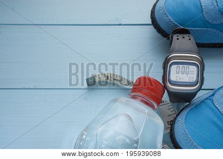 Some Running Sport Eqipment And Water Bottle