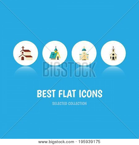 Flat Icon Church Set Of Religious, Architecture, Building And Other Vector Objects