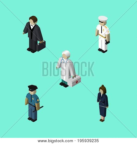 Isometric People Set Of Seaman, Businesswoman, Officer And Other Vector Objects