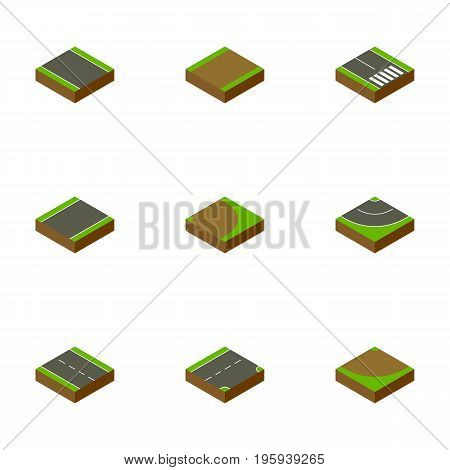 Isometric Road Set Of Turn, Rotation, Down And Other Vector Objects