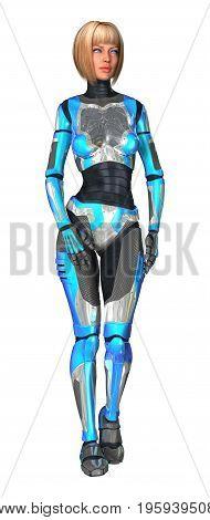 3D Illustration Female Cyborg On White