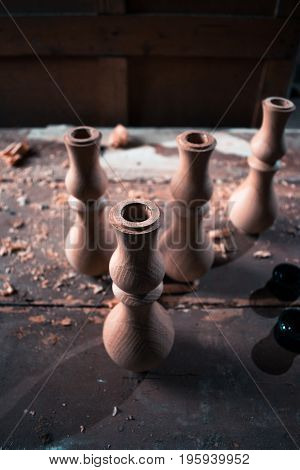 Wooden fragment ornament for shisha decoration on a wooden background