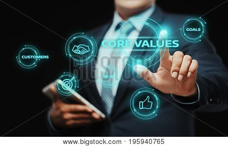 Businessman press button. Core Values Responsibility Ethics Goals Company concept