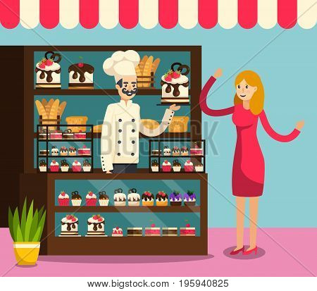 Colored flat Cafe composition with employee behind the counter of cafe selling cakes to buyer vector illustration
